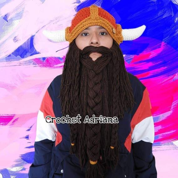Gorro Vikingo Terracota Dorado Crochet