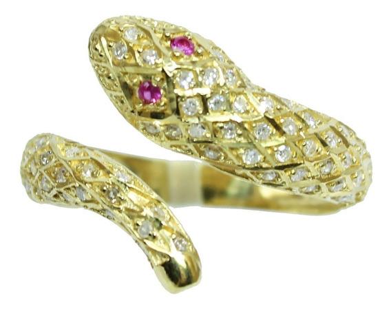 Pocao2005- Anel Ouro 18k Diamantes Cobra 12x S/j Ft/gt 1915