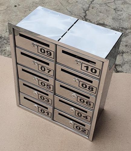 Mini Caixa Correio Inox P/10 Aptos C/abertura Frontal