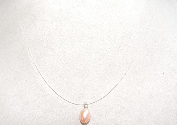 Collar Fino De Perla Cultivada Rosa 11 Mm
