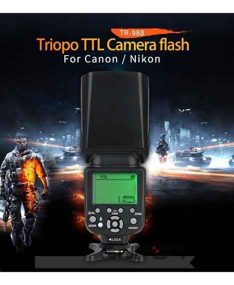 Flash Profissional Para Canon Ou Nikon, Triopo Tr988 Ttl