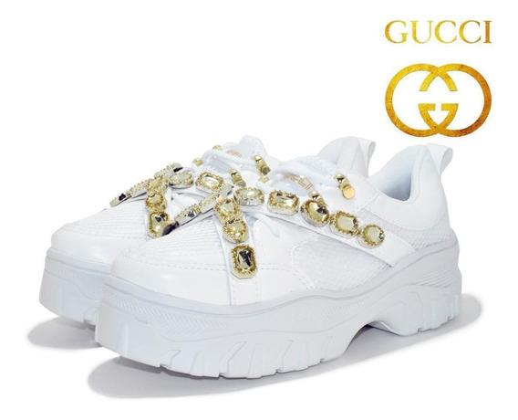 Tênis Feminino Gucci Plataforma Pedrinha