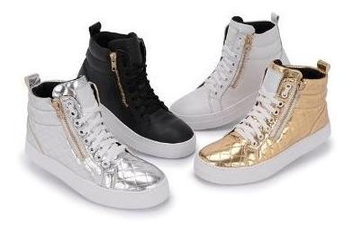 Bota Sneaker Feminino De Zíper Do Tamanho