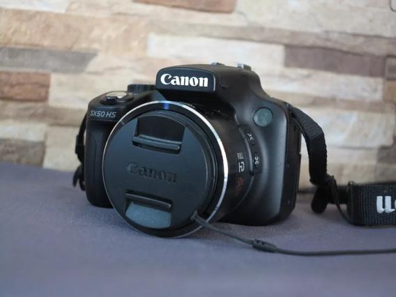 Câmera Canon Sx50hs Zoom Óptico 50x Com Duas Baterias