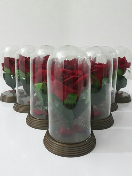 Kit 70 Mini Cúpulas Redomas A Bela E A Fera Rosa Festa