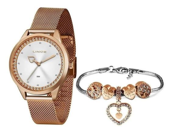 Relógio Lince Orient Bright Rose Lrr4666l+pulseira Berloque