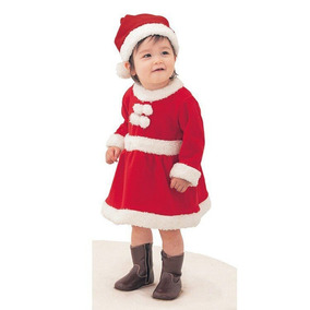 Roupa Fantasia Mamãe Noel Com Gorro Infantil De Luxo