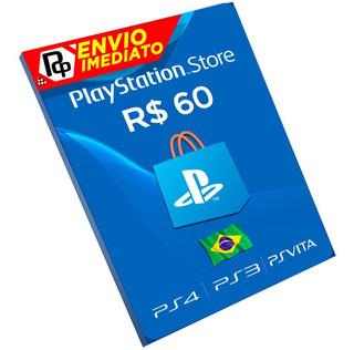 Cartão Playstation R$60 Reais Ps3/ps4/vita Brasil Rápido Br