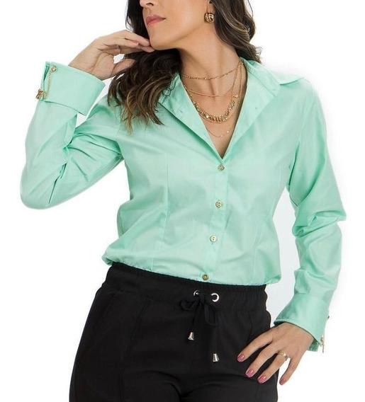 Camisa Blusa Social Feminina Slim Casual