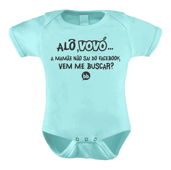 Body Bori Macacão Bebê Personalizado Alô Vovó Mamãe Facebook
