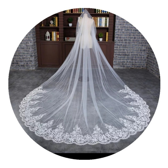 Véu De Noiva Longo Casamento Mantilha Vestido Noiva 3 Mt