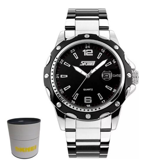 Relógio Masculino Analógico Skmei 0992 - Prata E Preto Nf