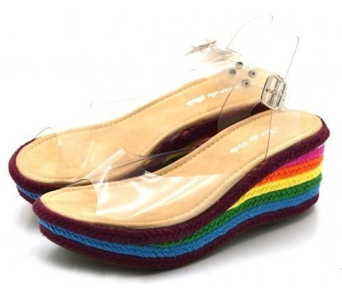 Sandália Feminina Plataforma Transparente Salto Colorido