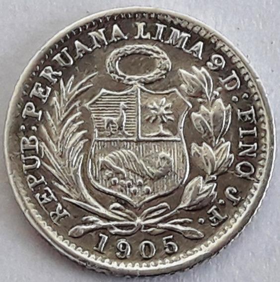 Perú Moneda De Plata Del Año 1905 - 1/2 Dinero