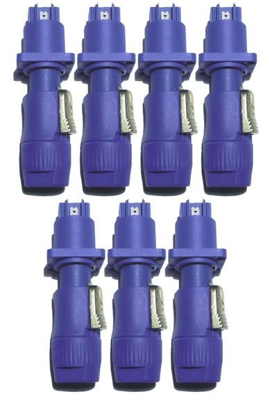 Kit 14 Powercon 7 Plug Conector Macho 7 Fêmea Azul 20 Amp