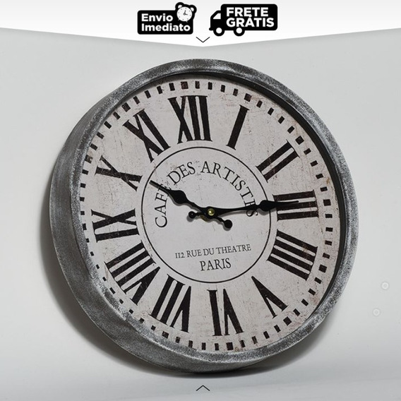 Relógio De Parede Antique Decor Café Des Artistes