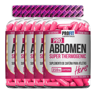 5x Super Thermogênico Pro Abdomen Hers - 60 Caps - Profit
