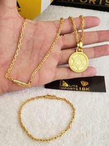 Cordão 3mm Cadeado Com Pulseira E Pingente Banhado A Ouro