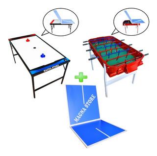 Combo Metegol Aluminio + Tapa Ping Pong + Tejo Metal Madera