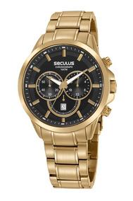 Relogio Masculino Seculus Cronografo Dourado 20617gpsvda1