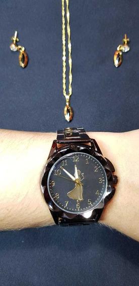Kit Relógio Feminino Preto Luxo Com Par De Brincos E Colar