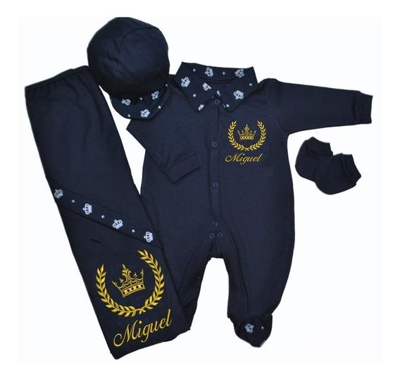 Saída Maternidade Menino Personalizada Príncipe Azul Marinho