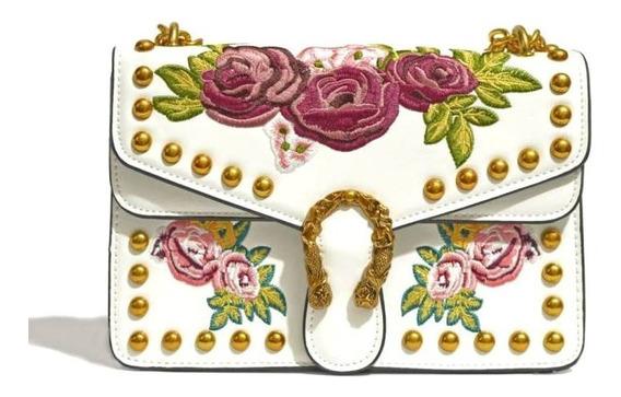 Bolsa Feminina Bordada Alça Corrente Dourada Branca Rosa Pta