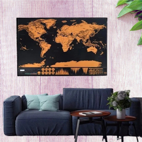Imagem 1 de 9 de Mapa Mundi De Raspar Viagem Mapa Raspadinha 82 X 52cm Quadro