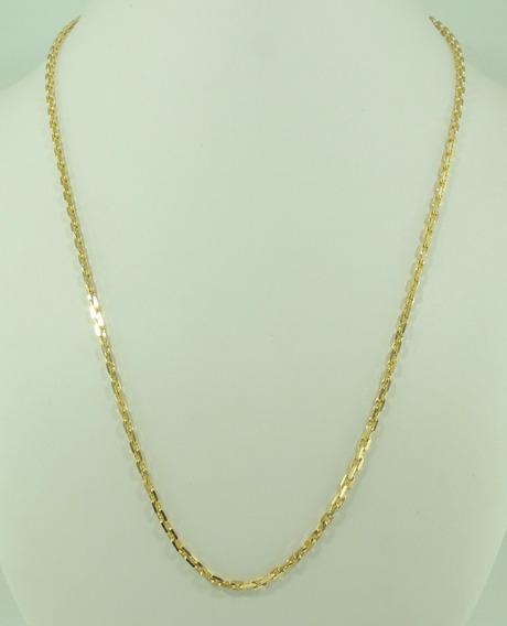 Corrente Cordão Maciço Cadeado Maculino 60cm Em Ouro 18k 750
