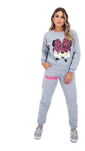 Imagem 1 de 10 de Conjunto Moletom Feminino Personagem Minnie Mickey De Frio