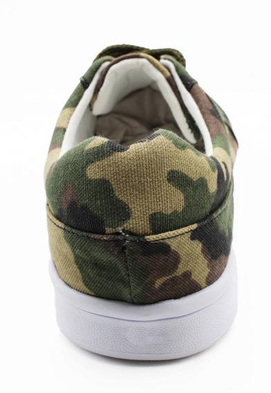 Tenis Para Hombre Camuflaje Militar Calzado Verde (camuf)