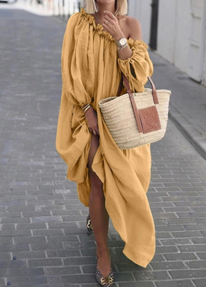 Vestido Largo Asimétrico Con Pliegues Y Manga Larga Con