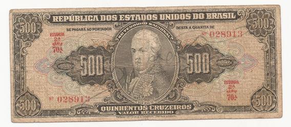 Cédula Brasil 500 Cruzeiros C099 Autógrafo