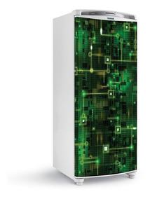 2 Adesivos Para Geladeira Textura Tecnologia Digital-ge-052