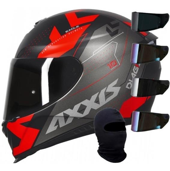 Capacete Mt Axxis Diagon Preto Fosco Vermelho +viseira Touca