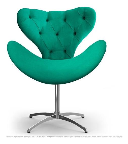 Cadeira Capitonê Decorativa Egg Base Giratória