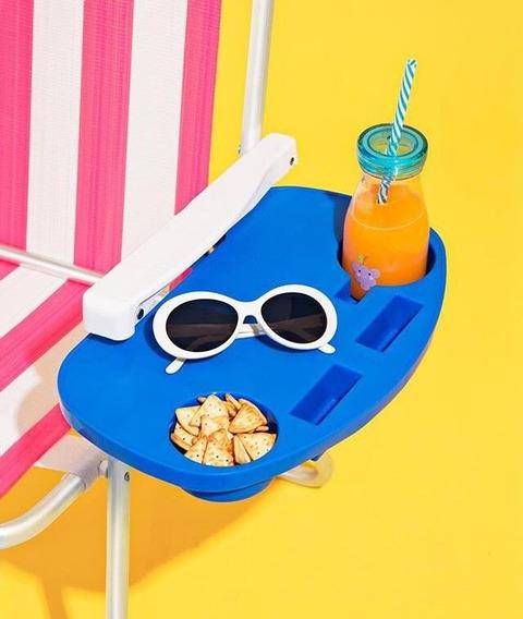Mesa Portátil Para Cadeira De Praia Piscina Copos Mor Verão
