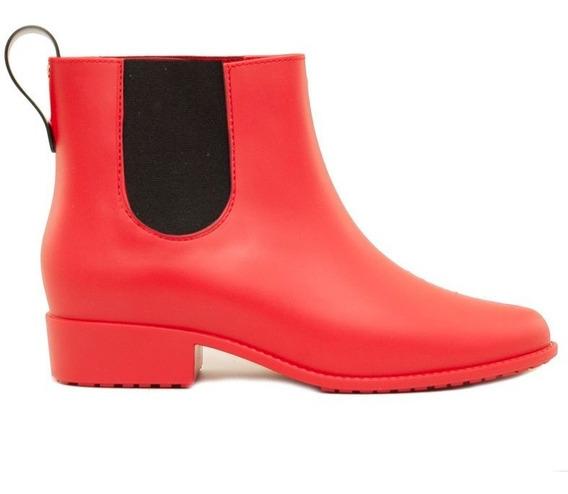 Botas De Lluvia Mujer En Goma Rojo Con Elástico