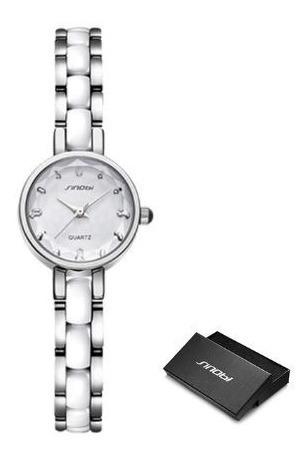 Relógio Feminino Mostrador Pequeno 3atm - Branco Prata