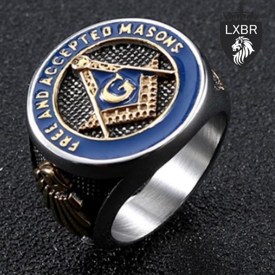 Anel Ouro 18k Aço Inox 316l Maçonaria Hip Hop Leão Lxbr A30