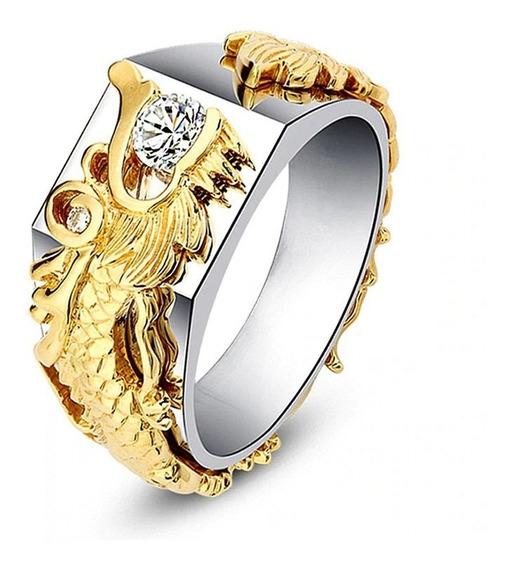 Anel Vintage Dragão Dourado