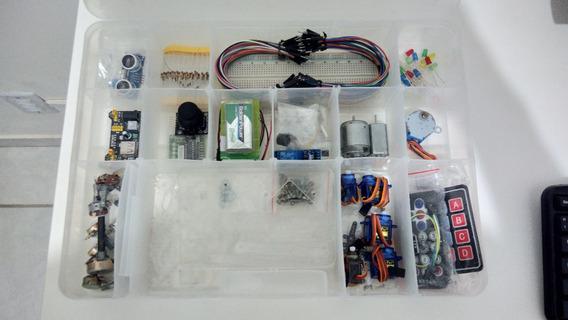 Kit Arduino Avançado Mais Completo Do Mercado (5 Servos/12 Pot./6 Sens./joystick/tela Lcd/cr) + Braço Robótico + Manuais
