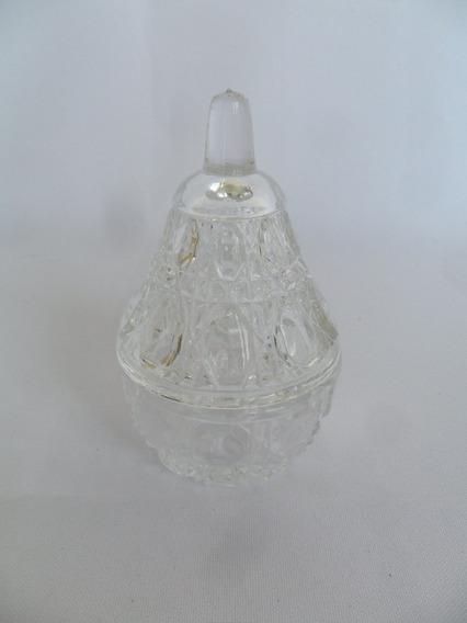 Porta Jóias Antigo Em Cristal Lapidado Forma De Pêra Enfeite