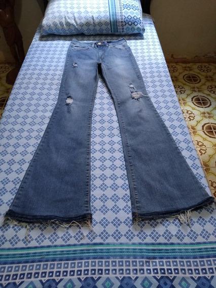 Calça Feminina Jeans Cos Alto E Barra Flare