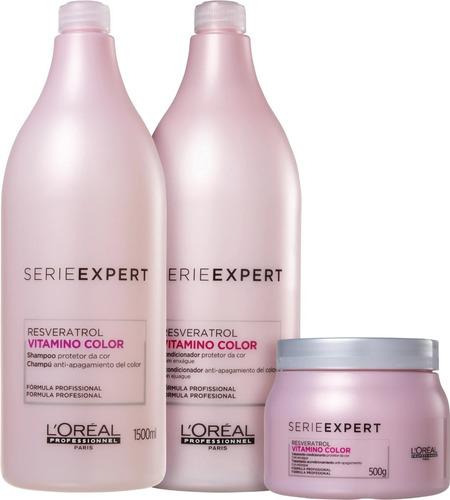 Imagem 1 de 3 de Loreal Shampoo + Cond + Mascara 500g Vitamino Color 1,5ltos