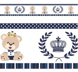 5 Faixa Border Adesivo Parede Urso Ursinho Principe Rei Azul