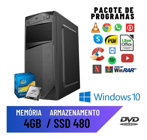 Pc Desktop Cpu Computador Core I3 540 4gb Ssd 480 Win10 Pró