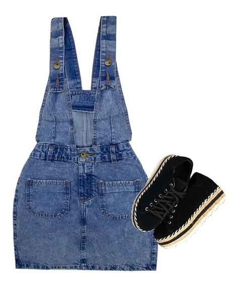 Jardineira Jeans Saia Salopete Jeans Saia Jeans