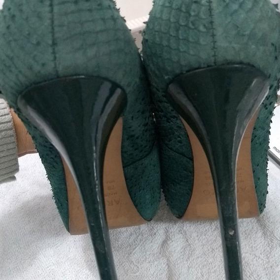 Sapato Cor Verde Militar, Arezzo Meia Pata Número 36, Usado