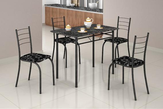 Conjunto Mesa Com 4 Cadeiras Para Cozinha Rio Teixeira Craqueada Preta